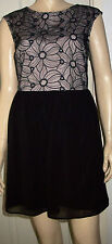 ATMOSPHERE Chiffon Black Nude Floral V Back Lined Sleeveless Party Dress Size 12