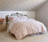 Simply Shabby Chic Tan Duchess Blossom ~ KING ~ Duvet Cover 3pc Set ~ Pink Rose