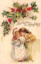Christmas Greetings Girl in White and Pink Coat with Boy Postcard J56953