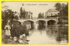 cpa Bourgogne 21 - LONGVIC (Côte d'Or) Le PONT sur l'OUCHE Laveuse Café du Pont