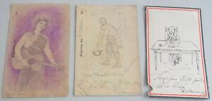 3 Feldpost-Karten 1917/18 With Drawings / Rir 262 & Genesungs-Abteilung Ek 146