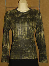 CHICO's - Dark Green - Chinese Asian Japanese Design Stretchy BLOUSE sz 1 *USA