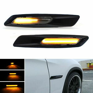 Car Accessories LED Side Marker Lights Black F10 Style For BMW 1 3 5 Series 2PCS