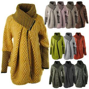 Womens Italian Bubble Knit Lagenlook Zip Collar Ladies Cardigan Coat Coatigan