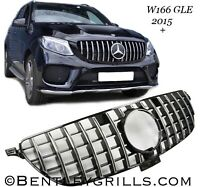 MERCEDES ML W166 GLE 2015 ONWARDS AMG GT PANAMERICANA GRILLE GRILL BLACK/CHROME