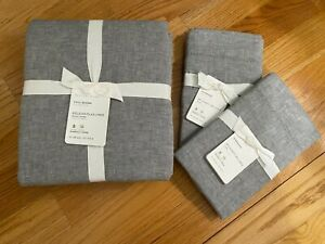 NEW POTTERY BARN BELGIAN FLAX LINEN FULL/QUEEN DUVET COVER & 2 STANDARD SHAMS