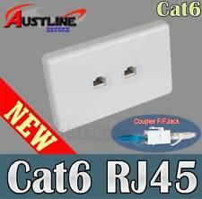 2 Port Gang Cat6 Wall Plate Clipsal Style 2 RJ45 Cat 6 Coupler F/F Jacks AwC6ff