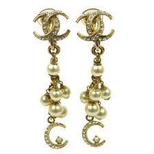 """Authentic CHANEL CC Earrings Imitation Pearl Clip-On 0.5 - 2.2 """" AK16023"""