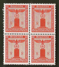 Nazi Germany Third 3rd Reich POST eagle over swastika 8 pf Franchise stamp block