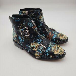 Gianni Bini Sz 7 Kenderix Floral Print Leather Zipper Buckle Bootie Black $149