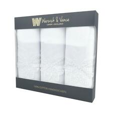 Pack Of 3 Womens White Cotton Handkerchiefs With Butterfly Lace Corner 29x29cm