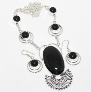 Black Tiger Eye Black Onyx 925 Sterling Silver Plated Necklace Earrings Set GW