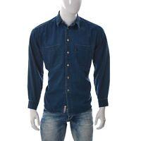 Levi's Etichetta Rossa Uomo Jeans Camicia Bottoni Tasca Manica Lunga Blu Size M