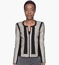 HELMUT LANG Rift Stretch Leather Jacket in Carbon Grey Size P XS - MSRP $1,355