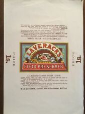 c1920. Cookery - Food Preserver,  Large coloured label.