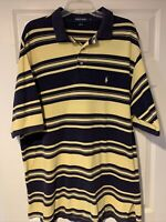 Men's Vintage Ralph Lauren Polo Golf XXL Blue Yellow Striped Short Sleeve Shirt
