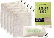Reusable Organic Cotton Mesh Produce Bags | 5 Piece Set + Carry Pouch | Large
