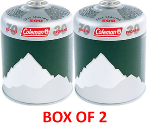2 x Coleman C500 Gas Cartridges butane/ Propane Mix Self Sealing Screw Thread