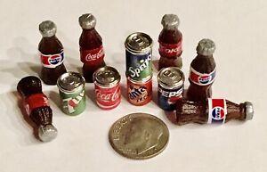 Dollhouse Miniature Soda Bottles Can Lot (9) Piece 1:6-1:12 👻🧲 New