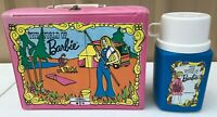 "1972 Vintage ""The World of Barbie"" Pink Vinyl Lunchbox & Plastic Thermos"