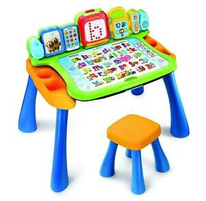 Vtech Touch and Learn Activity Desk 4 in 1 9 Interactive Pages Included + Stool