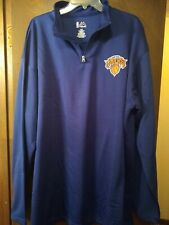 New York KNICKS  Mens NBA  MAJESTIC Size 2XL Blue Pullover LongSleeve Jacket