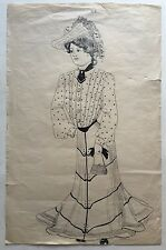 Original 19th Century PEN & INK DRAWING Victorian FASHION Woman Dress HAT Purse