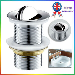 "Flip Top Unslotted Basin Sink Waste Swivel Top Plug Chrome Heavy Duty 1/4"" UK  A"