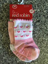 Bnwt Girls Red Robin Brand Pretty Pink/White 2 Pack Crew Socks Age 0-6 Months