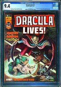 DRACULA LIVES #4 - CGC 9.4 OW/WP - NM - EARL NOREM COVER - PLOOG ART