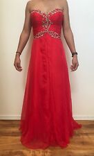 Formal Prom Dress Long Red Princess Style Strapless W/ Rhinestones Gorgeous!