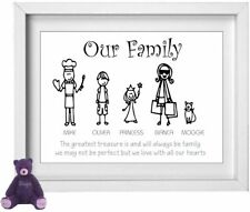 FAMILY NAME | Personalised Picture | Stick People Figures | FREE POST | (NP190)
