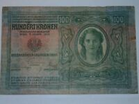 Antique Vintage Estate AUSTRIA 100 Kronen 1912 Hundert Kronen Bill Paper money
