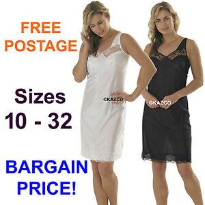 Ladies Full Length Slip Petticoat Underskirt Size 10 12 14 16 to 32 White Black