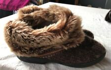 ISOTONER SLIPPERS 9.5-10 WOMEN'S BROWN FUR WARM LN PERFECT NO WEAR EUC ANKLE 💓