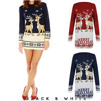 Ladies Tunic Reindeer Christmas Xmas Knitted Retro Jumper Long Dress UK 8-26