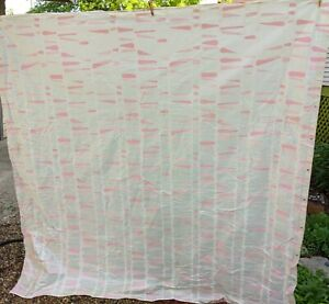 """SHOWER CURTAIN, PINK/BEIGE 60'S, 70'S LOOK, MADE IN 90'S, 70""""X72"""" PLASTIC"""