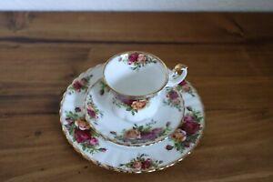 3tlg. Gedeck, Royal Albert, Old Country Roses, Bone China, England, Porzellan
