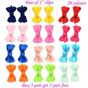 "2"" mini size Baby Girls kids Ribbon Hair clip Bows clips cute bow School Pair"