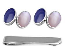 Sterling Silver Cufflinks Lapis And Pink Shell Tie Clip Box Set