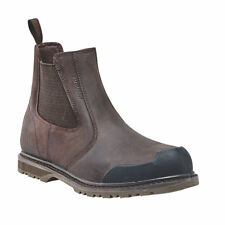 NEW SITE PRAIRIE BROWN LEATHER CHELSEA SAFETY DEALER BOOTS STEEL TOE - UK 11
