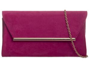Ladies Suede Leather Envelope Ladies Evening Party Clutch Bag