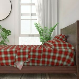 Christmas Stripes Dots Holiday Plaid 100% Cotton Sateen Sheet Set by Roostery