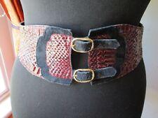 Fab Lesley Slight 80s Vintage Snakeskin & Suede Thick Black Burgundy Waist Belt