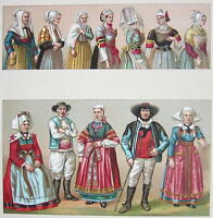 BRITTANY Costume of Bretons France Brittany - SUPERB Color Print by A. Racinet