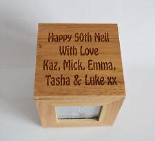 Foto de madera de Roble Personalizado Caja Caja Cubo recuerdo grabado