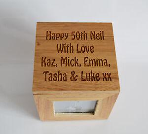 Personalised Oak Wooden Photo Box Keepsake Cube Box Engraved
