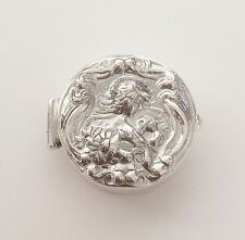 Fine 925 Solid Silver - Pill , Trinket , Snuff Box  , Art Nouveau Lady Flowers