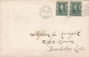 1907 Cover, Denver to Boulder CO, (2) 1c Franklin stamps
