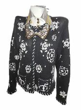 B MOSS Womens Vtg Chunk Nordic Embroidery Knit Cardigan Jacket sz M 12 14 X72